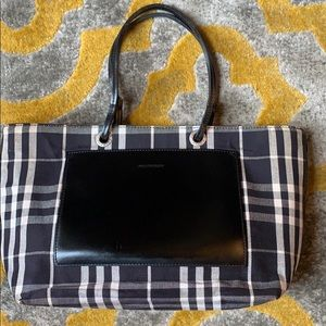 Burberry white and blue tote with leather pocket.
